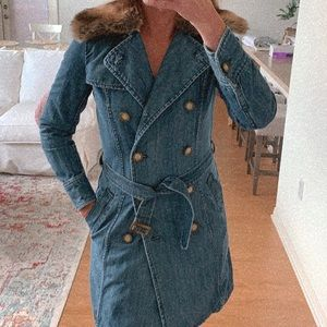 Denim trench by OZOC with detachable fur collar